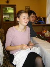 Štěpánka čte gratulaci :-)