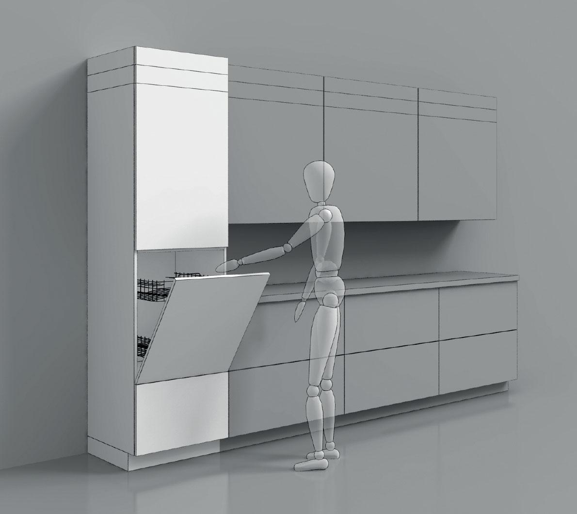 Pomôcky pre navrhnutie dokonalej kuchyne - Ideálna poloha umývačky pre naše chrbáty