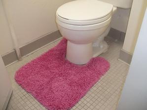 Lepšie, než použiť takýto koberček s výrezom pre toaletu (ešte k nemu chýba prikrývka sedadla),...