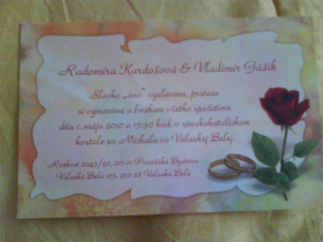 Prípravy pred svadbou - naše oznámenia