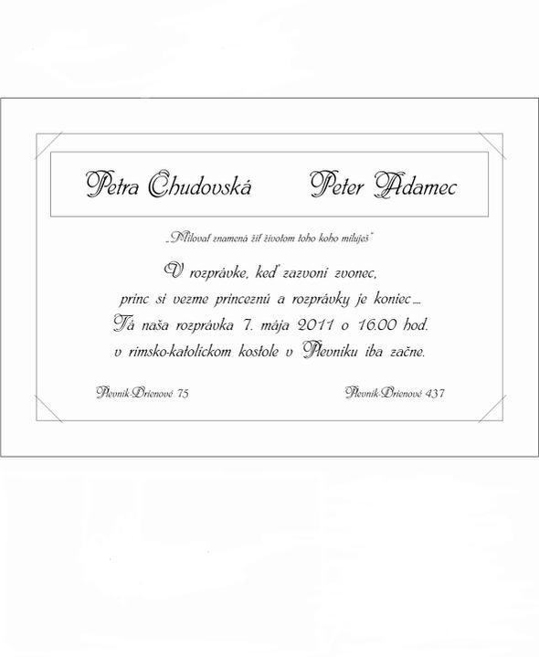 P@ P - 7. máj 2011 - Text vo vnútri svadobného oznámenia :)
