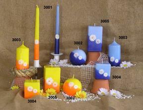 svíčky s kopretinkama