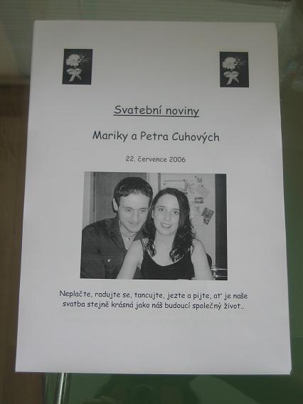 Marinka - přední strana svatebních novin