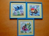 3 ks vyšívané detské obrazy,