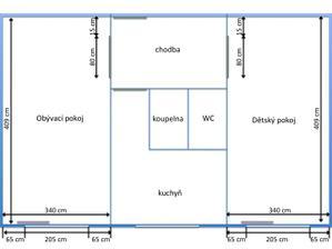 jádro se posune o 17cm do předsíně a 10cm do chodbičky v kuchyni, záchod a koupelnu necháme spojené, v obývákoložnici uděláme malou zeď, která oddělí spací prostor od obývacího