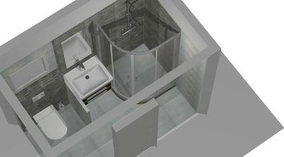 druhý návrh jsme také změnili, místo umyvadla bude záchod a umyvadlo bude na levé zdi kvůli lepšímu otevírání sprcháče