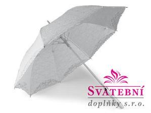 krajkový svatební deštník v barvě ivory