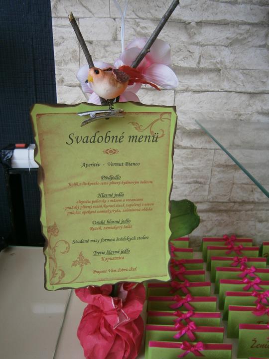 Tak toto už máme... - svadobné menu. moja tvorba