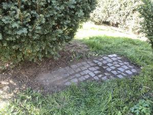 Objevený starý přístupový chodníček, určitě ho ponecháme :-)