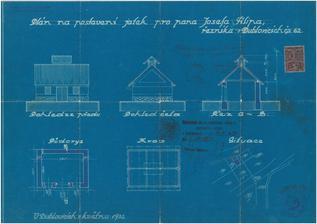 Podařilo se nám dohledat, stavební plánek k domku :-). Nejdřív stál domek a následně, až po roce 1958 se přistavovala stodola.