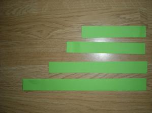jednotlivé pásky přibližné rozměry , zastřižené pásky.