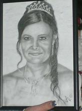 Takhle mě kamarádka namalovala podle svatební fotky :-)