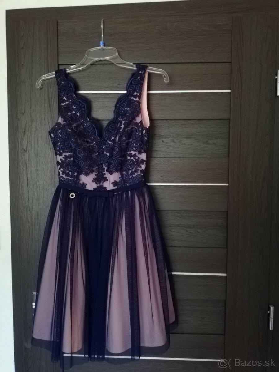 Predám krátke tmavomodro-ružové šaty - Obrázok č. 1