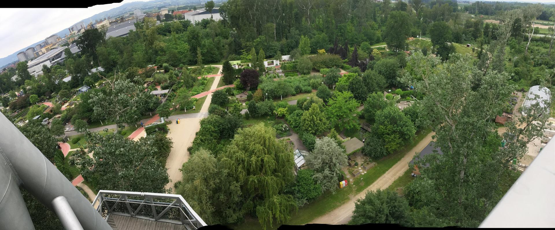 2020 😍 🌞 - Na vylete za inspiraci v zahradach v Tullnu (Rakousko) - pohled na jednotlive zahrady z vyhlidkove veze
