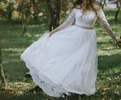 Moderné svadobné šaty + závoj veľ. 38-42, 40