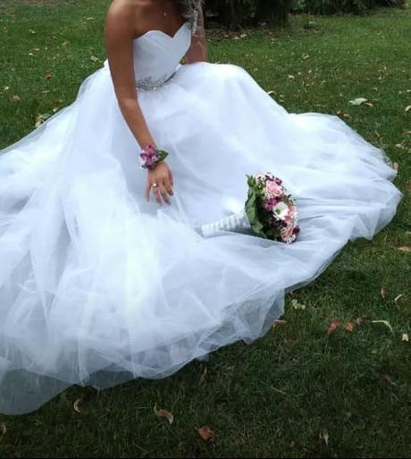 Nové nabírané svatební šaty L-xxL - Obrázek č. 2