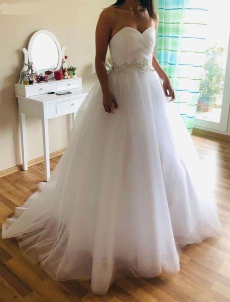 Nové nabírané svatební šaty L-xxL - Obrázek č. 3