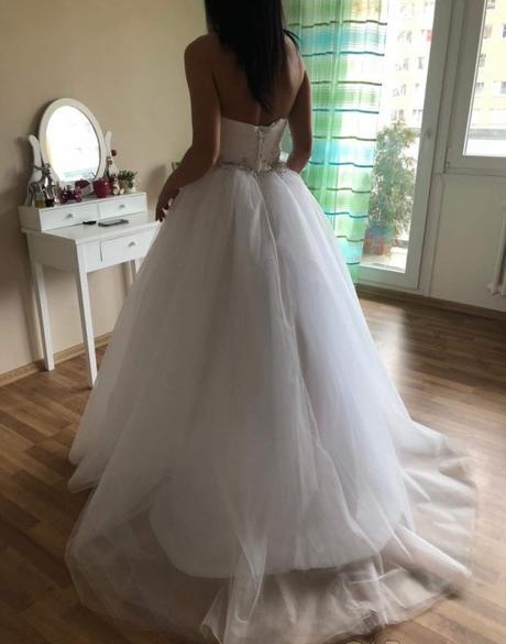 Nové nabírané svatební šaty L-xxL - Obrázek č. 4
