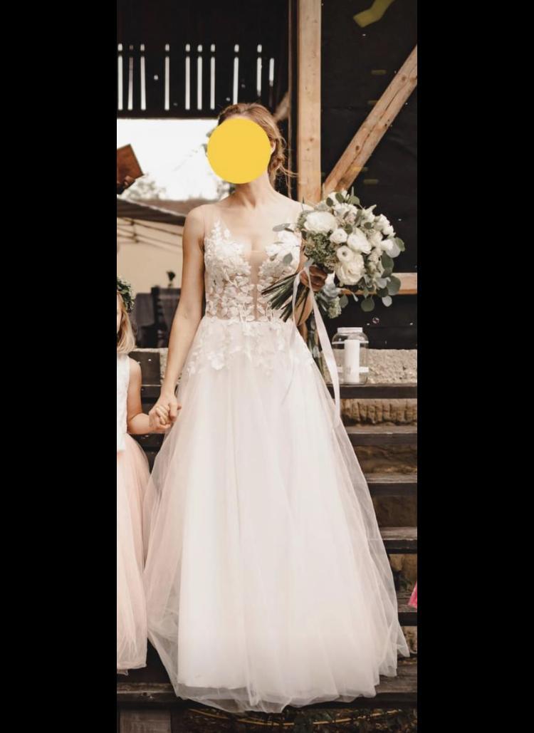 Svatební šaty vel. 36 + krajkové bolerko - Obrázek č. 1