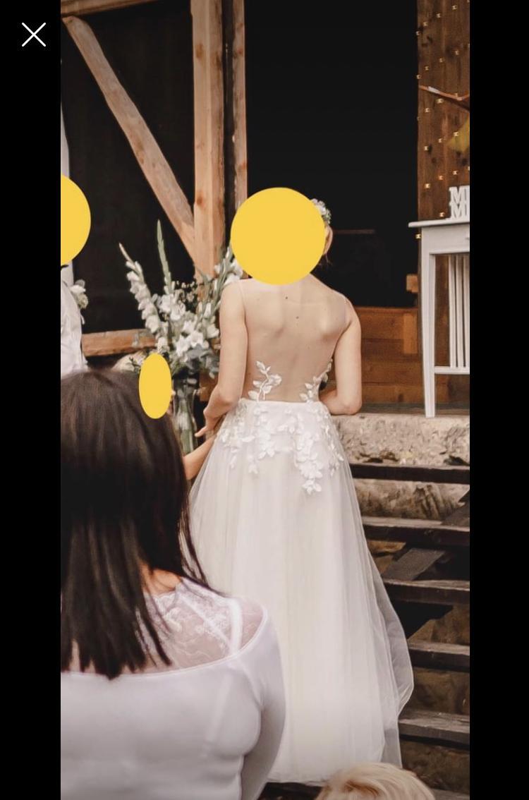 Svatební šaty vel. 36 + krajkové bolerko - Obrázek č. 2