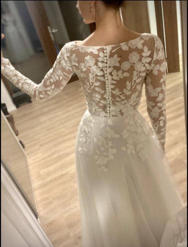 Svatební šaty vel. 36 + krajkové bolerko - Obrázek č. 3