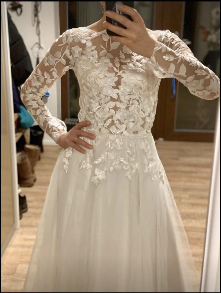 Svatební šaty vel. 36 + krajkové bolerko - Obrázek č. 4
