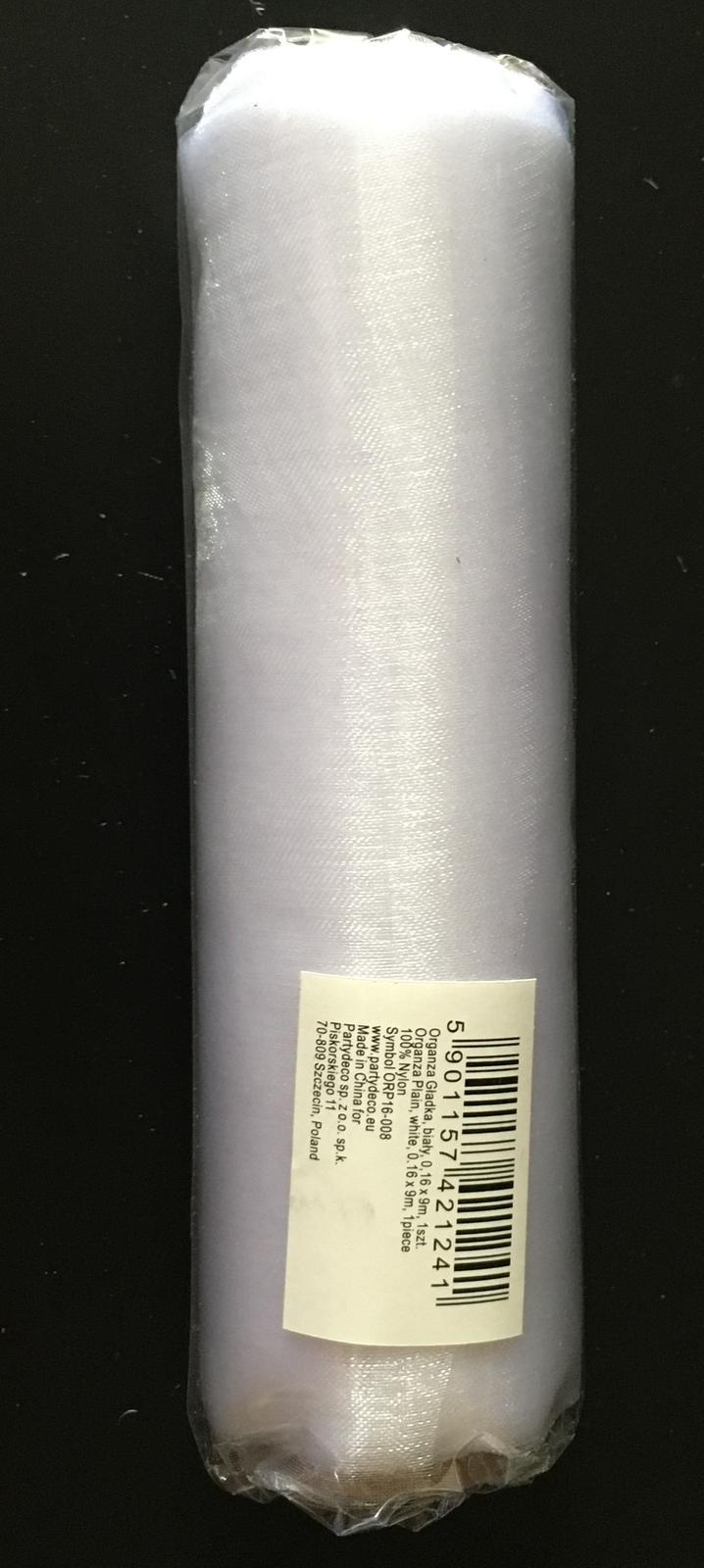 Organza role bílá 9 m šíře 16 cm NOVÉ - Obrázek č. 1