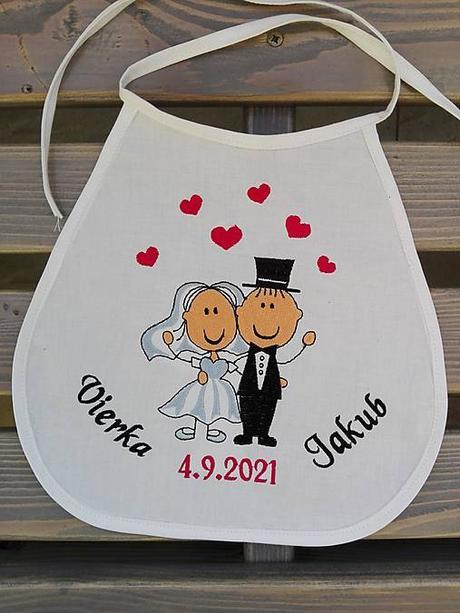 Vyšívané svadobné podbradníky pre mladomanželov - Obrázok č. 1