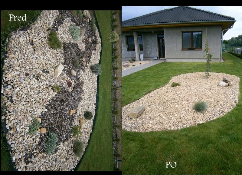 Zahrada a předzahrádka - -fotka z podzim r.2015 po levé straně ostrůvek změna ,snad k lepšímu,až se rozroste cedr bude to pecka