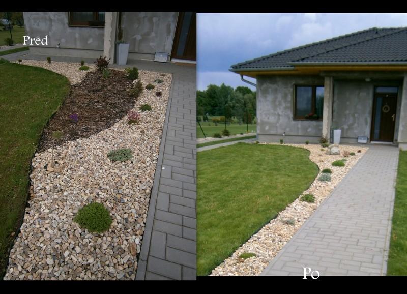 Zahrada a předzahrádka - po pravé straně- změna ,zrušila jsem kůru a prý to bylo přeplácaný :D