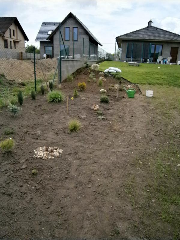 Zahrada a předzahrádka - foceno zhruba v půlce záhonku