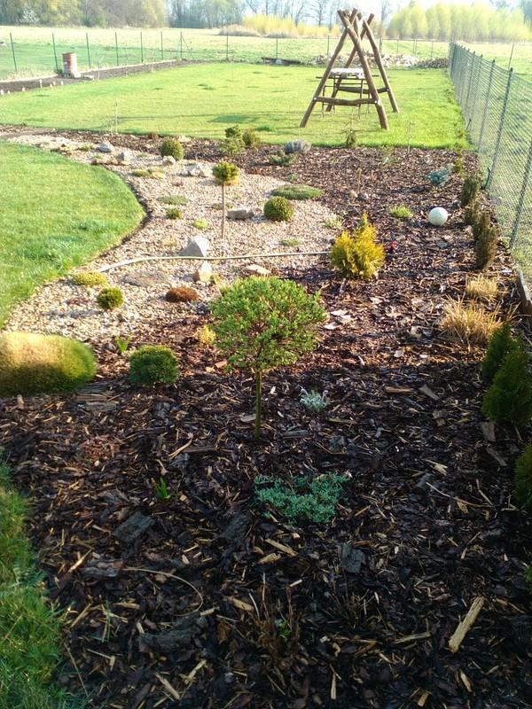 Zahrada a předzahrádka - kousek dubnové zahrádky,trávník upraven :-)