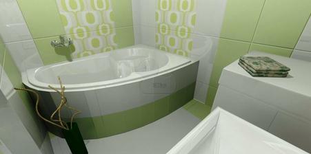 Obklad do kúpeľne Matte pistáciový, dekor apple. Siko kúpeľne