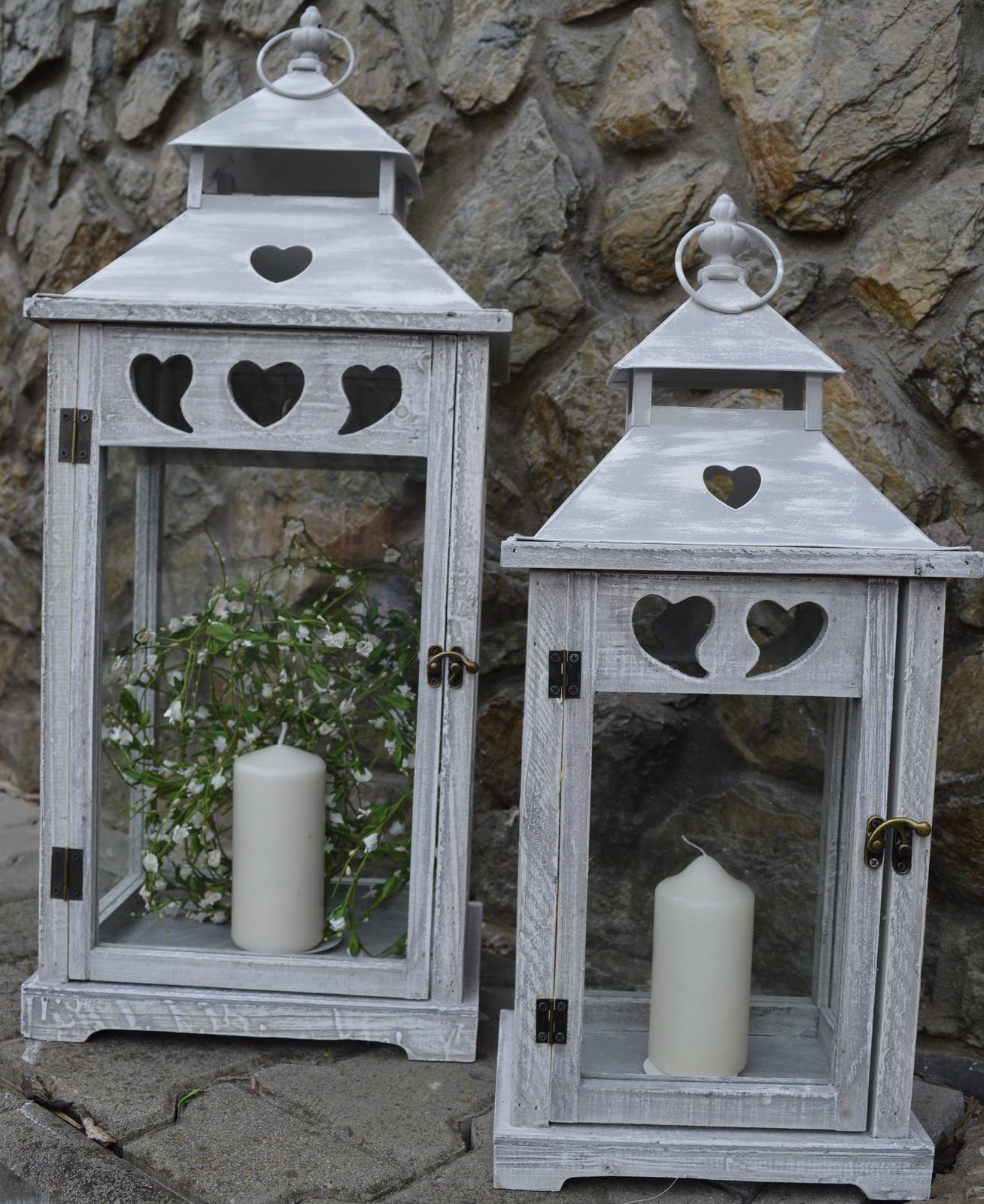 Svadobné drevené  lampáše PRENÁJOM - Obrázok č. 1