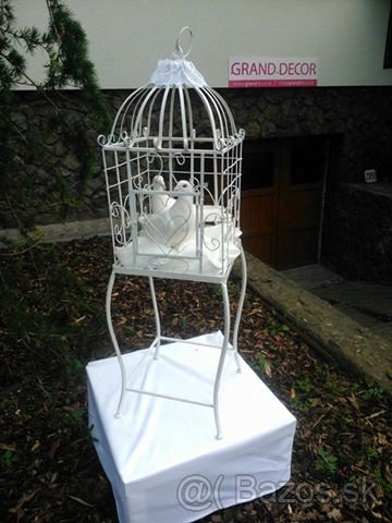 Vtáčia klietka kovová biela - Obrázok č. 2