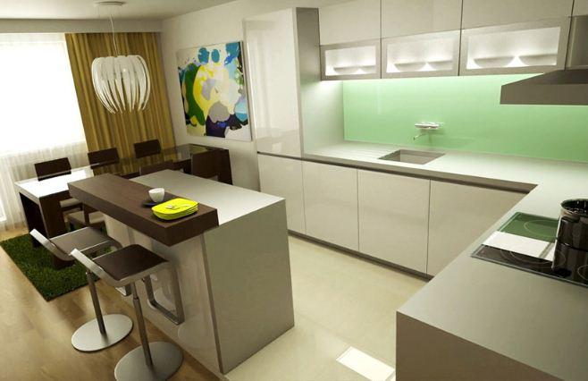 Inspiracie kuchyna - Krasny barovy pult, akoby len doska polozena na pracovnej ploche. :)