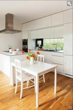 Krasna biela kuchyna..a hoci nemam moc rada taketo svetle typy podlah, k tej bielej sa tato fakt hodi.. :)