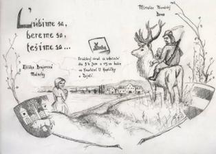 naše oznámenie, kreslil nám rukou kámoš(pre pochopenie-moj drahý je lesník, máme dve deti, a v pozadi je vinarstvi u kaplikcky, kde sa svatba bude konat,ja som z Malaciek, drahus z Brna)