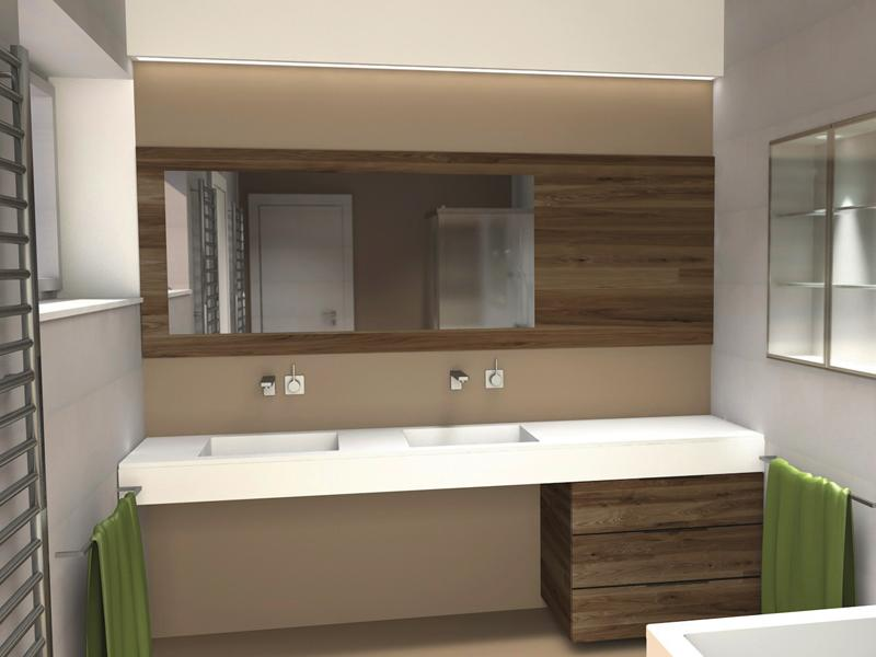 Další vizualizace navrženého RD - návrh koupelny