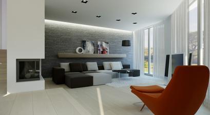Návrh obývačky, veľké okná s výhľadom na prírodu