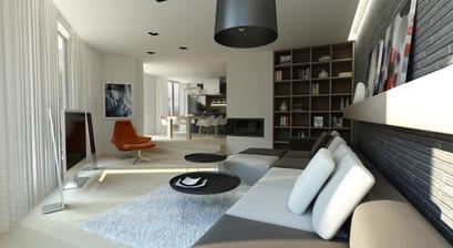 návrh obývačky, v pozadí kuchyňa
