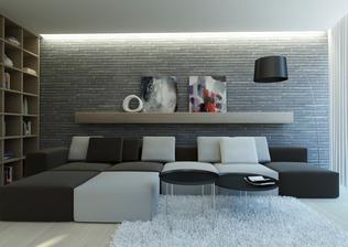 návrh obývačky, sedenie s knižnicou