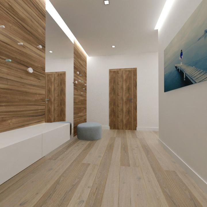 Interier maleho dvojizbového bytu v Bratislave - pohlad od vchodovych dveri do vstupnej haly