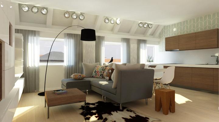 Interier maleho bytu - navrh obyvacky