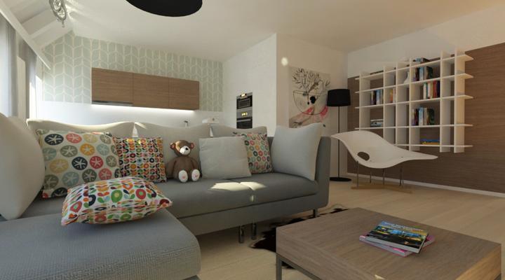 Interier maleho bytu - obyvacka s citacim kutikom