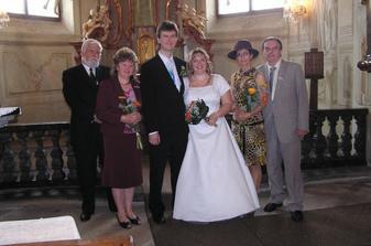 V kapli s rodiči...