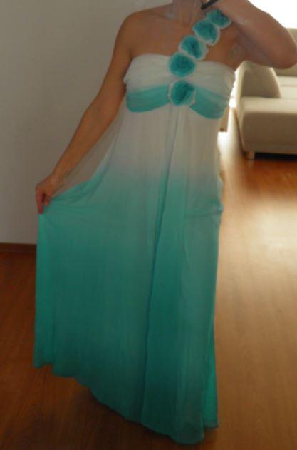 spoločenské šaty dlhé tyrkysovo biele S/36 - Obrázok č. 2