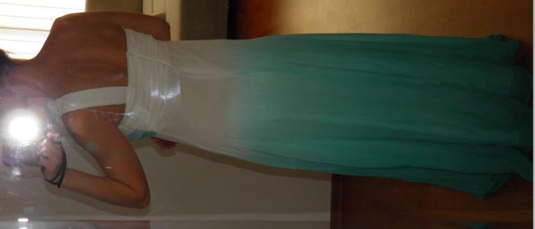 spoločenské šaty dlhé tyrkysovo biele S/36 - Obrázok č. 4