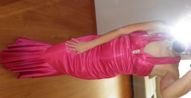 dlhe spoločenské šaty, cyklamenové 34/36, XS/S - Obrázok č. 1