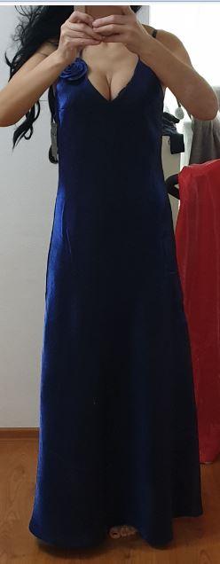 parížske modre dlhe šaty, veľk M alebo S/M - Obrázok č. 1